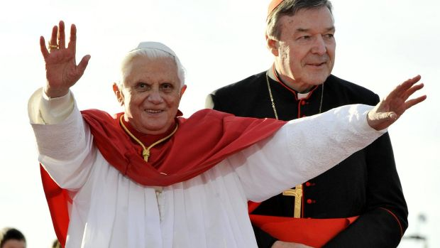 Cardinal Pell with pope Benedict XVI in Sydney in 2008.