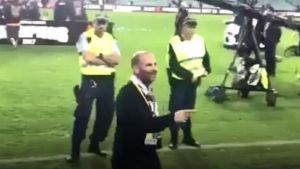 Footage of MasterChef judge George Calombaris at the A-League grand final. in Sydney.