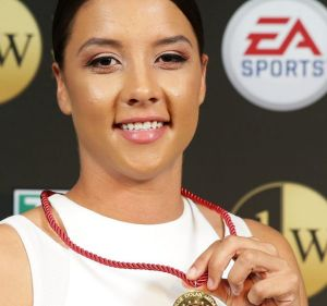 Samantha Kerr won the Julie Dolan Medal for best W-League player and is now winning fans in the US.