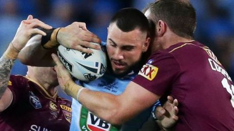 X-factor: Jack Bird takes on the Queensland defence during limited minutes in game two.