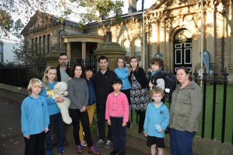 Concerned about changes: Students and parents outside Bourke Street Public School.