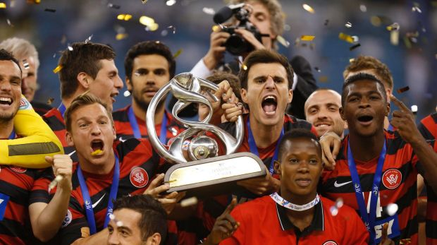 Western Sydney Wanderers celebrate their Asian Champions League win in 2014.