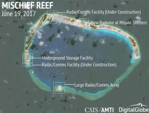Construction is shown on Mischief Reef, in the Spratly Islands, on June 19, 2017.
