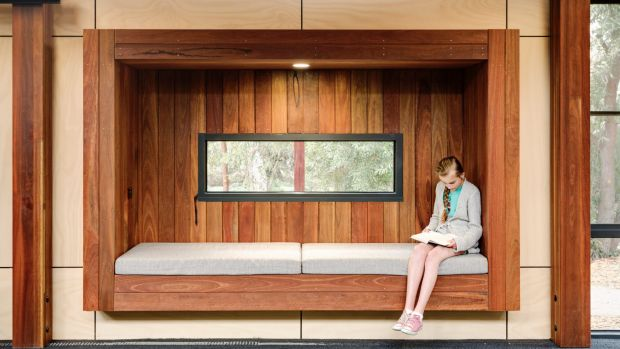 The Woodleigh School uses discrete zones and different furniture scales to enhance learning.