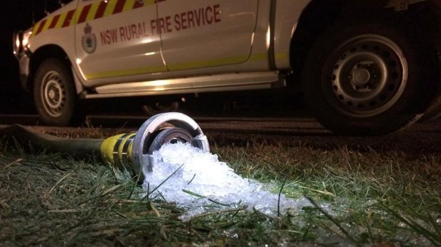 Firefighting conditions at Bungendore, where temperatures hit minus 8 degrees, causing water to freeze over