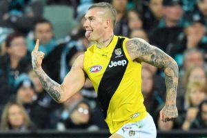 The price is rising: Dustin Martin has been offered $6 million by the Tigers.