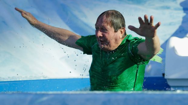 Football coach Kevin Sheedy takes part in the Big Freeze event, which raises money for research into motor neurone disease.
