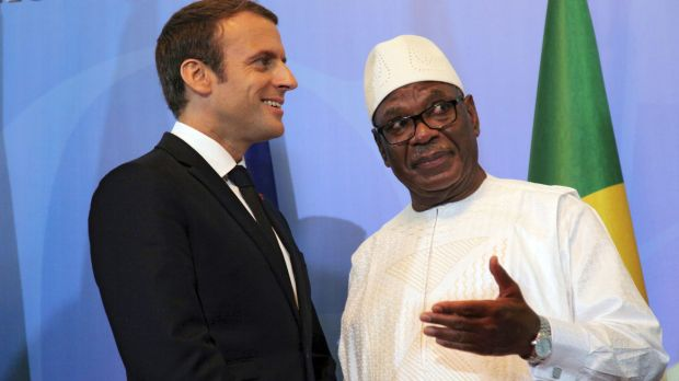 French President Emmanuel Macron with Malian President Ibrahim Boubacar Keita during the opening session of G5 Shel ...