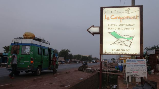 A sign points to Campement Kangaba from where attackers took hostages on June 21.