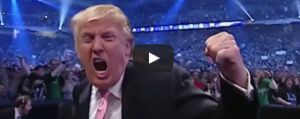 President Donald Trump in the mock video, where he takes on the CNN logo in the wrestling ring.