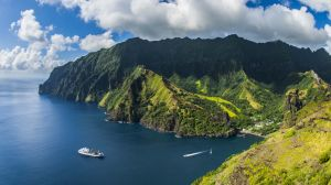 The remote Marquesas Islands in the South Pacific.     Aranui 3 in the Marquesas Islands