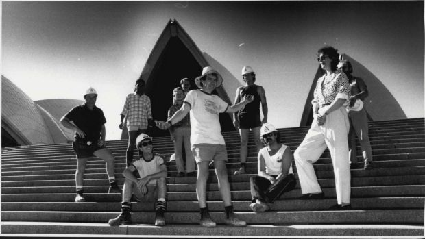 Singer Margret Roadknight, with ETU Members at the Opera House, September 14, 1987.