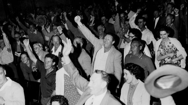 Workers at the Sydney Town Hall on 11 November 1960.