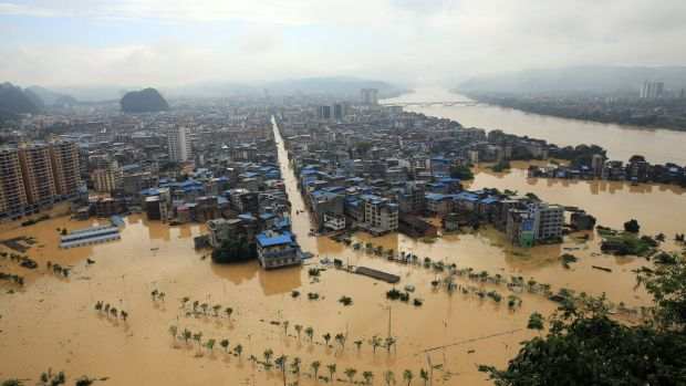 Rongshui in southern China's Guangxi region is submerged in floodwaters