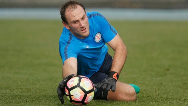 Newly signed Melbourne City goalkeeper Eugene Galekovic is determined to work hard in training.