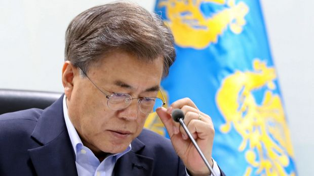South Korean President Moon Jae-in at a meeting of the country's National Security Council on Tuesday.