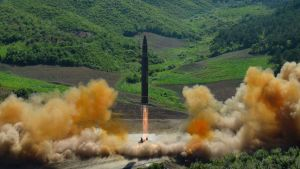This photo distributed by the North Korean government shows what was said to be the launch of a Hwasong-14 ...