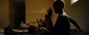 A 20-year-old South Sudanese woman with her baby at a hospital for displaced people in Bentiu, South Sudan.