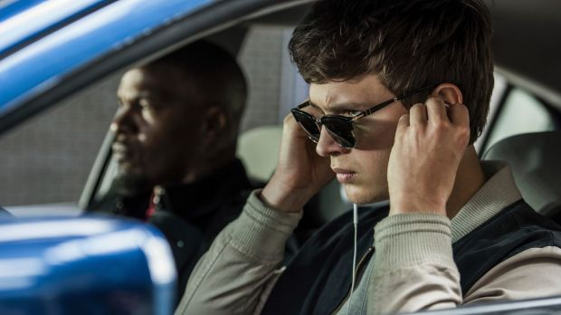 Ansel Elgort, right, and Jamie Foxx in a scene from Baby Driver.