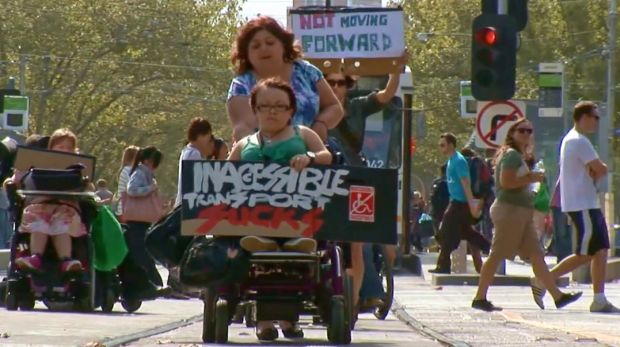 A 2012 protest calling for more accessible trams in Melbourne.