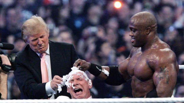 Donald Trump and Bobby Lashley shave the head of Vince McMahon at WrestleMania 23 in Detroit in 2007.