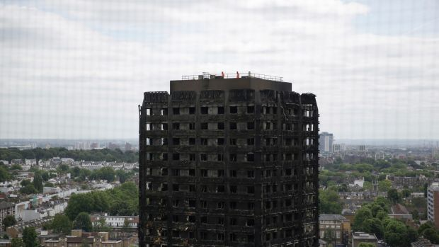 The fire-gutted Grenfell Tower in London