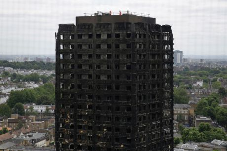 The fire-gutted Grenfell Tower in London.