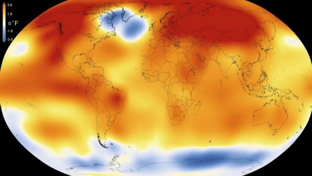 This illustration obtained from NASA on Jan. 20, 2016, shows that 2015 was the warmest year since modern record-keeping ...