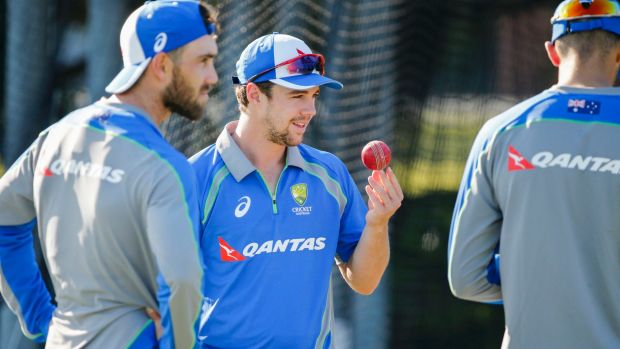Not touring: Glenn Maxwell and Travis Head at Australia A training in Brisbane on Wednesday.