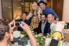 "(L-R) Andrew Reid, Magdalena Roze, Sam Frost, Kris Smith, Nova's Michael ""Wippa"" Wipfli and Tom Williams at Marco Pierre ..."