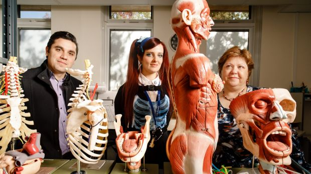 ANU Body Donation program coordinator Dr Riccardo Natoli, Anatomical services specialist Hannah Lewis, and Associate ...