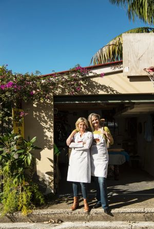 Sophie Gilliatt (left) and Katherine Westwood, the co-founders of the Dinner Ladies, outside Westwood's shed where it ...