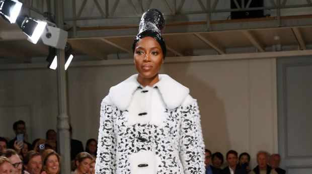 Naomi Campbell makes a rare catwalk appearance at Couture Week