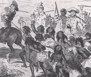 The Myall Creek Massacre as portrayed by an English illustrator 40 years after the event. From The Chronicles of Time; ...