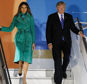 President Donald Trump and the first lady Melania Trump arrive in Poland.
