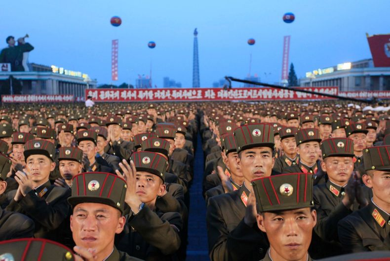 Soldiers gather in Kim Il-sung Square in Pyongyang, North Korea, on July 6, 2017, to celebrate the test launch of North ...