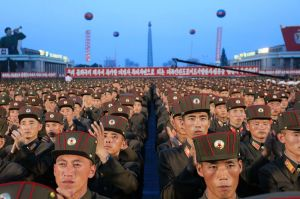 Soldiers gather in Kim Il-sung Square in Pyongyang, North Korea, on Thursday.