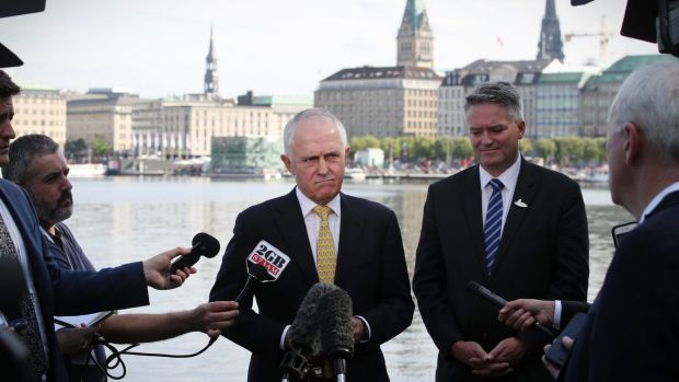 Prime Minister Malcolm Turnbull speaks to the media while in Hamburg, Germany for the G20 summit.