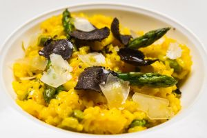 Asparagus risotto with fresh truffle.