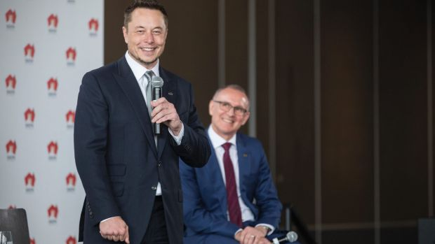 Tesla CEO Elon Musk (left) and SA Premier Jay Weatherill announce the plan to build the world's biggest lithium ion ...
