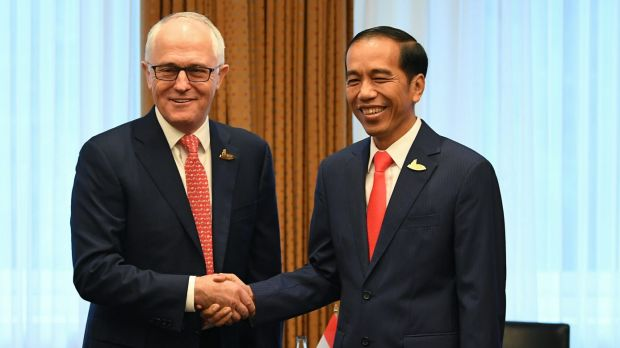 Australian Prime Minister Malcolm Turnbull  with Indonesian President Joko Widodo.  The two leaders have committed to ...
