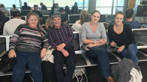 Tracey Monk (third from left) travelling with her parents and sister.