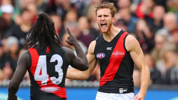 Reason to shout: Anthony McDonald-Tipungwuti and James Stewart of the Bombers.