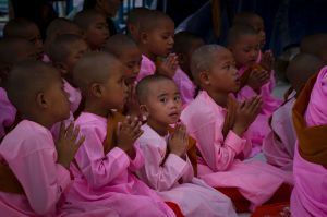 Young Buddhist nuns pray at the famed Shwedagon Pagoda during the Full Moon of Waso, Saturday, July 8, 2017, in Yangon, ...