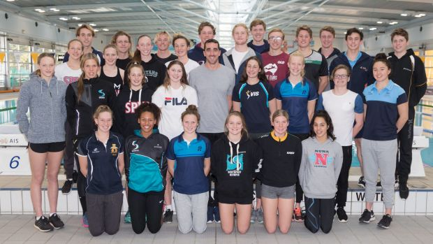 Members of the Swimming Australia NextGEN Squad pose for a group photo with former Olympian Matt Abood during their camp ...