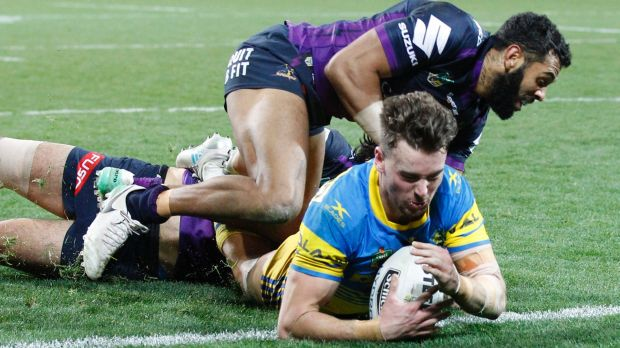 Try blitz: Clinton Gutherson scores for the Eels.
