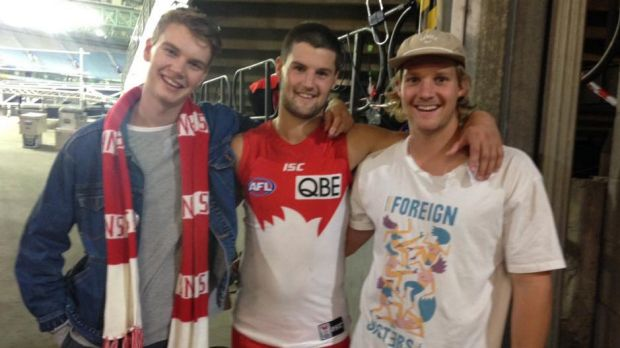 Close family: the Newman brothers of Mount Martha. Maverick (left), Nic (centre) and Josh (right) at Nic's debut game ...