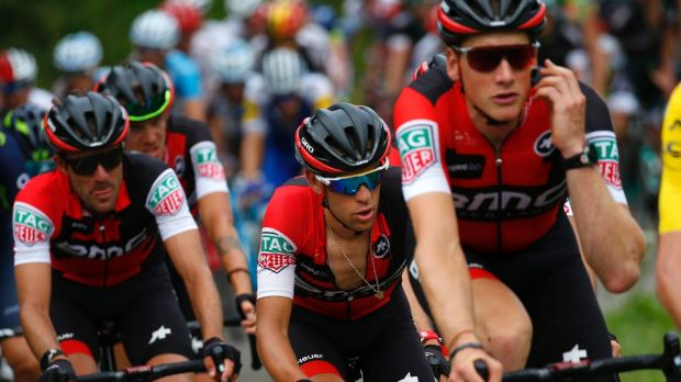 The climb Australia's Richie Porte third from right follows Britain's Chris Froome wearing the overall leader's