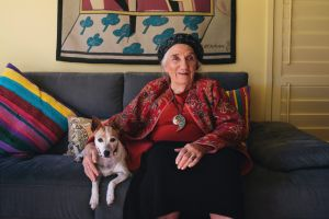 """Barbara Blackman and her dog called """"Piece of string"""", at home in Canberra."""