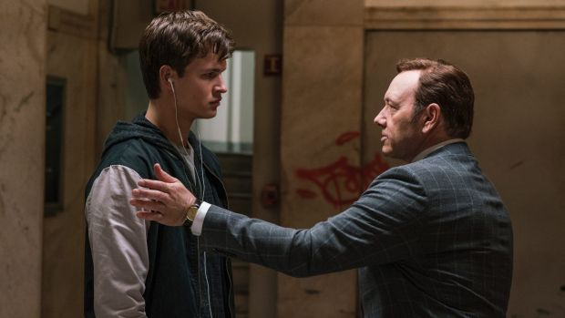 Baby (Ansel Elgort) with his hard-nosed boss, Doc (Kevin Spacey).